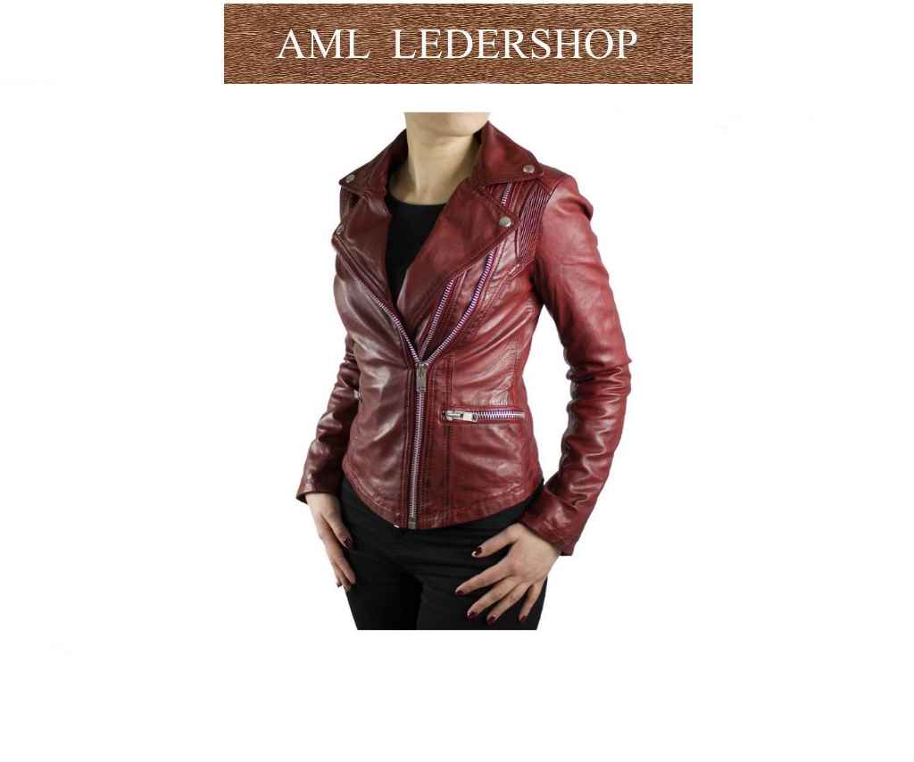 Damen Lederjacke Betty Lammnappaleder rot