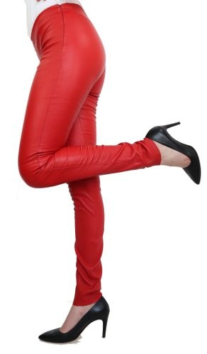 Leather Leggings Ricano Asteroid Genuine Lambskin Leather Red