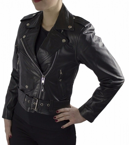 Leather Jacket Brando Girl Cowhide Nappa Leather black