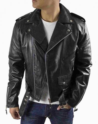 Mens Leatherjacket Marlon Brando Buffalo Nappaleather black