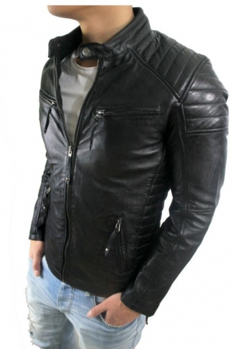 Mens Leather Jacket Cooper Biker Style Lambskinleather black
