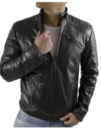 Lederjacke Herren Ricano 410 Lammnappa-Leder schwarz