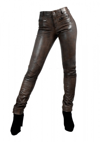 Tight Leatherjeans DONNA genuine Lambskin Leather brown