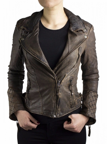 Ladies Leatherjacket Ricano Vera Lambskin Leather Vintage-Brown