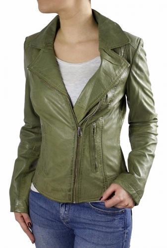 Ladies Leather Jacket Ricano Kaise Lambskinleather olive