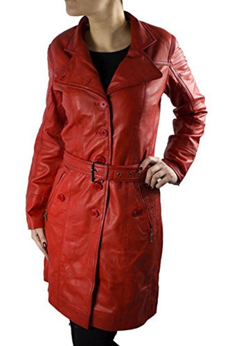 Leather Coat Real Lambskin Leather Ricano Lena red