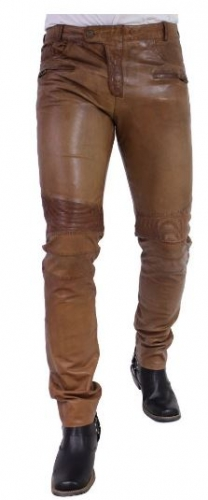 Leather Pants Ricano Franklin Exclusive Design Goat Nappa Leather cognac