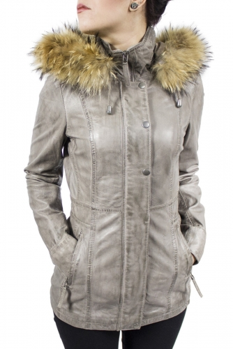 Leather Coat Women Ricano Manta Lambskin Leather Grey