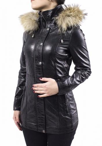 Womens Leather Coat Ricano Manta Lambskin Leather Black