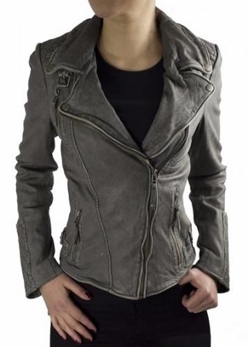 Leather Jacket Women Ricano Vera Lambskin Vintage Grey
