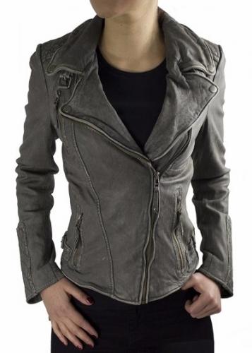 Leather Jacket Women Ricano VeraLambskinVintage Grey