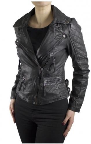 Womens Lambskin Leather Jacket Ricano Dahlia Black