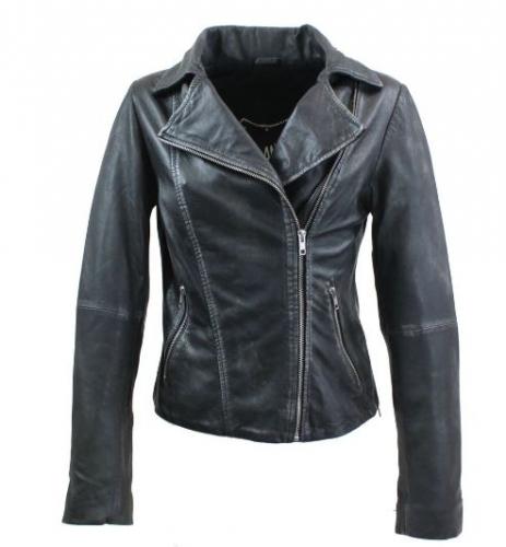 Womens Lambskin Leather Jacket Ricano Rose Mellow Black