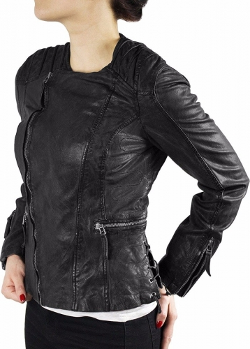Famous Leather Jacket Ricano Nancy Goat Nappaleather black