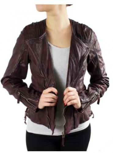 Ladies Leather Jacket Ricano Nancy Goat Nappa bordeaux red