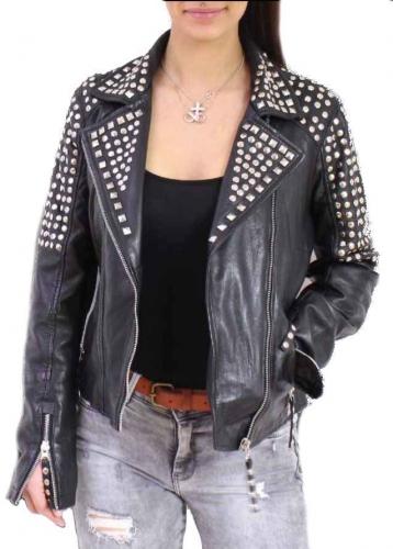 Leather Jacket Women Ricano Studd Lambskinleather Black
