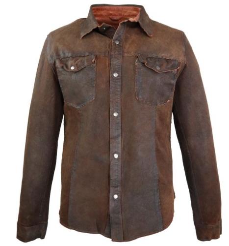Lederhemd Ricano Reverse Shirt Lammnappaleder Vintage-Braun