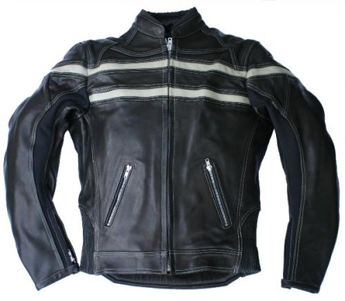 Motorrad Lederjacke Skorpion Roadstar Retro-Style schwarz-beige