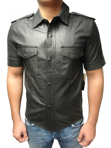 Mens short Leathershirt Ricano Lambskin Leather black