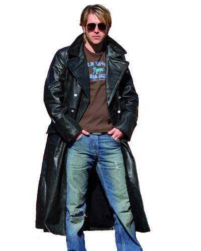Offiziers-Ledermantel Retro-Look Büffel Nappa Leder Vintage-Schwarz