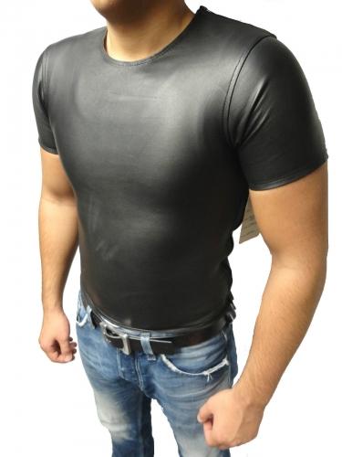 Ledershirt Herren Kurz Ricano Lammnappa-Leder schwarz