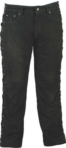 Ricano Lace-up Leather Pants Buffalo Nubuck Leather black