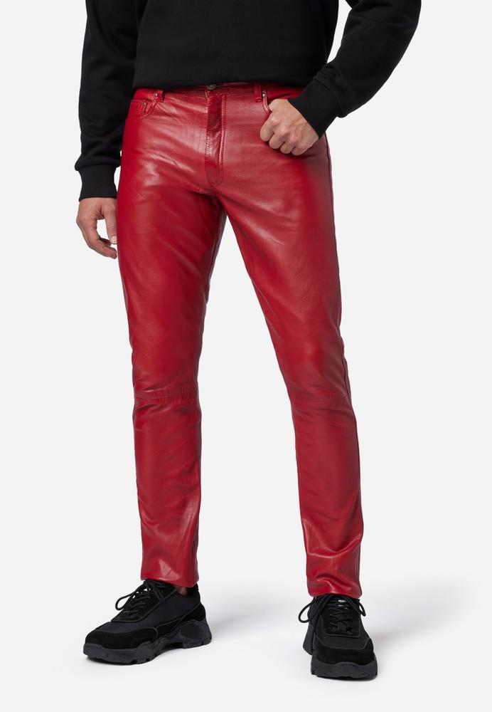 Lederhose-Herren-501-Ricano-5-Pocket-Lederjeans-Lammnappaleder-rot