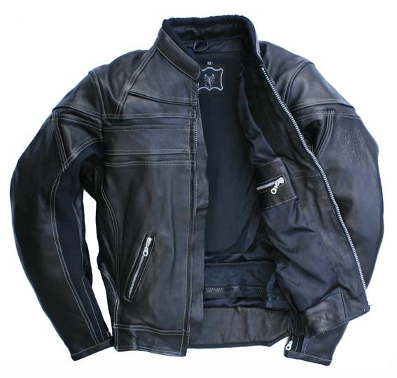 Motorrad Lederjacke Skorpion Roadstar Rindnappa Leder Retro Style schwarz