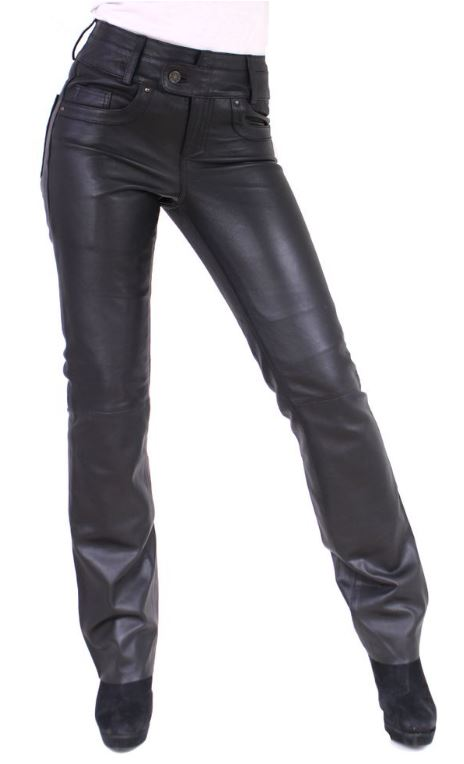 Womens Leather Pants Triston 5 Pocket Style Lambskin Leather black