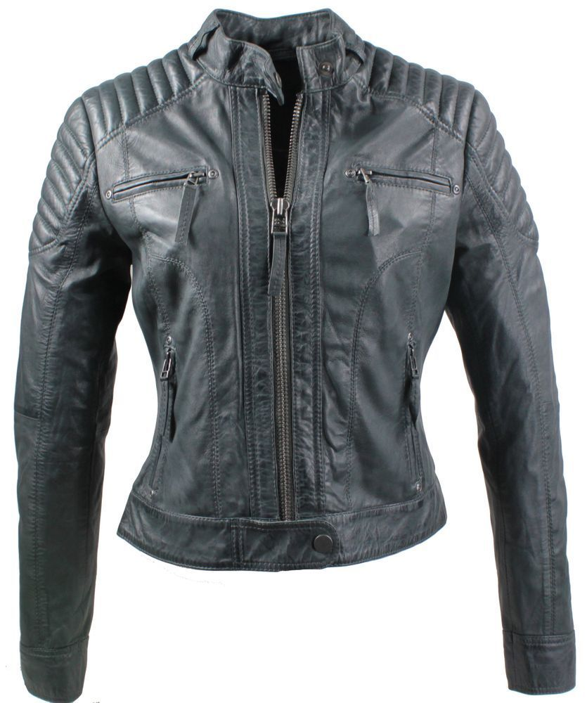 Ladies Leather Jacket Ricano Doris Lambskin Leather Grey