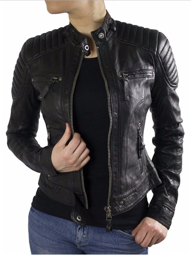 Ladies Leather Jacket Ricano Doris Lambskin Leather black