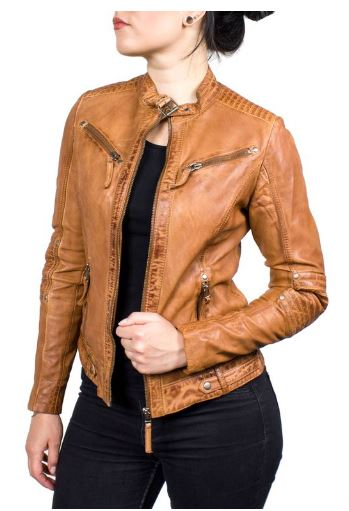Leather Jacket Ricano Jasmine Lambskin Leather Cognac
