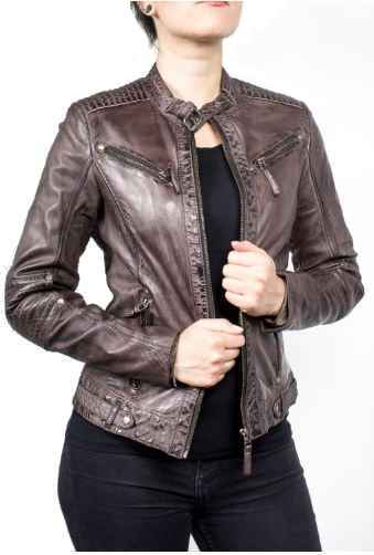 Ladies Leather Jacket Ricano Jasmine Lambskin Brown