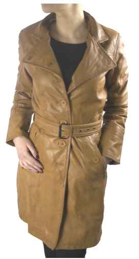 Womens Leather Coat Ricano LENA Lambskin Leather Cognac