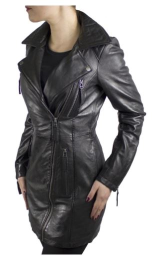 Womens Leather Coat Ricano OKLAHOMA Lambskin black
