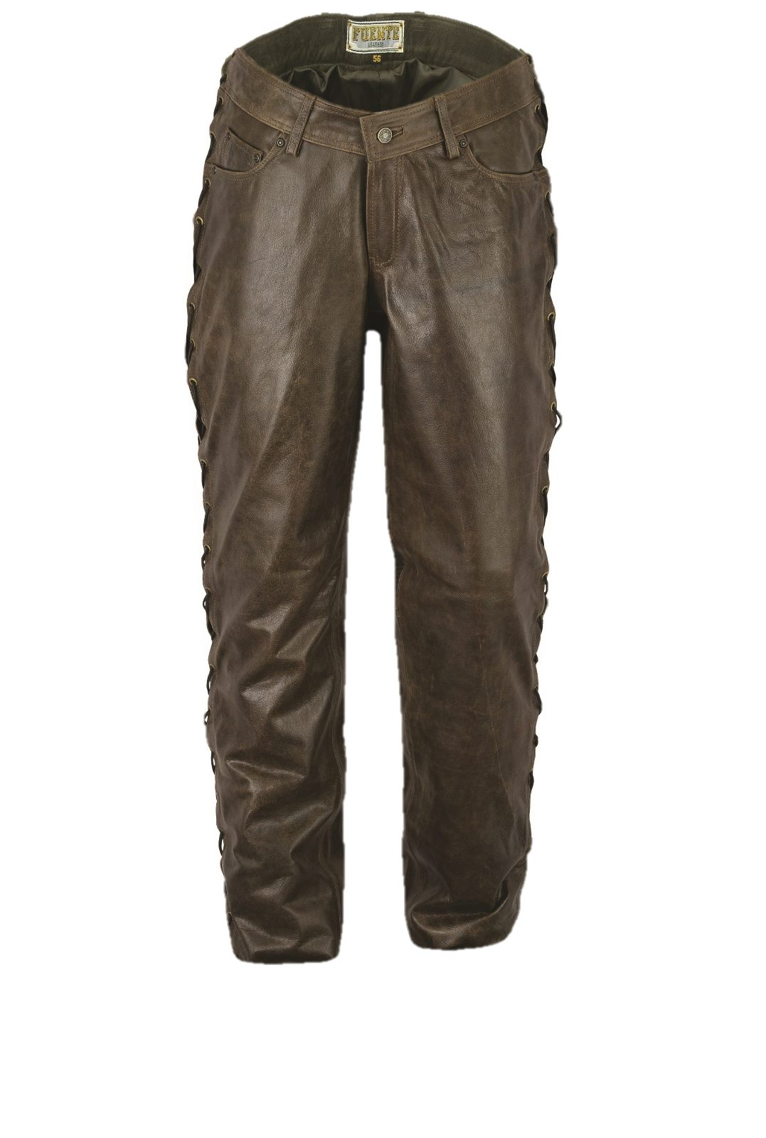 313cb291e864 Lace-up Leather Pants Fuente deluxe Buffalo Nappa Antique brown