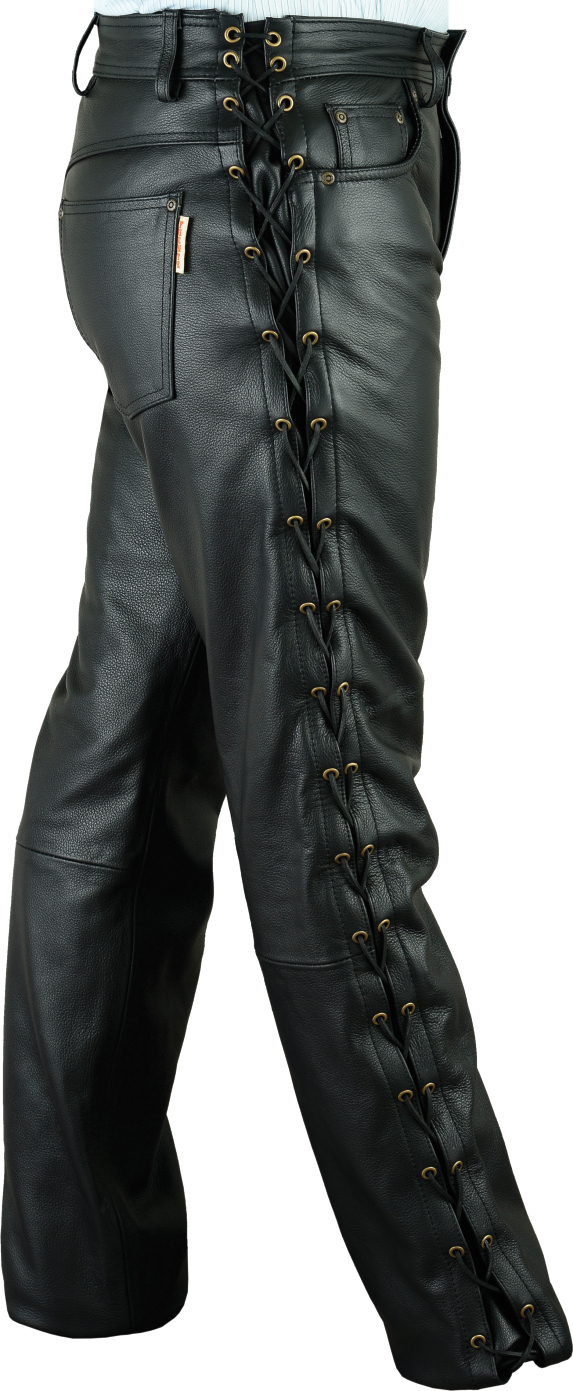 b11cf9b87f93 Lace-up Leather Pants Fuente deluxe Cow Nappaleather black