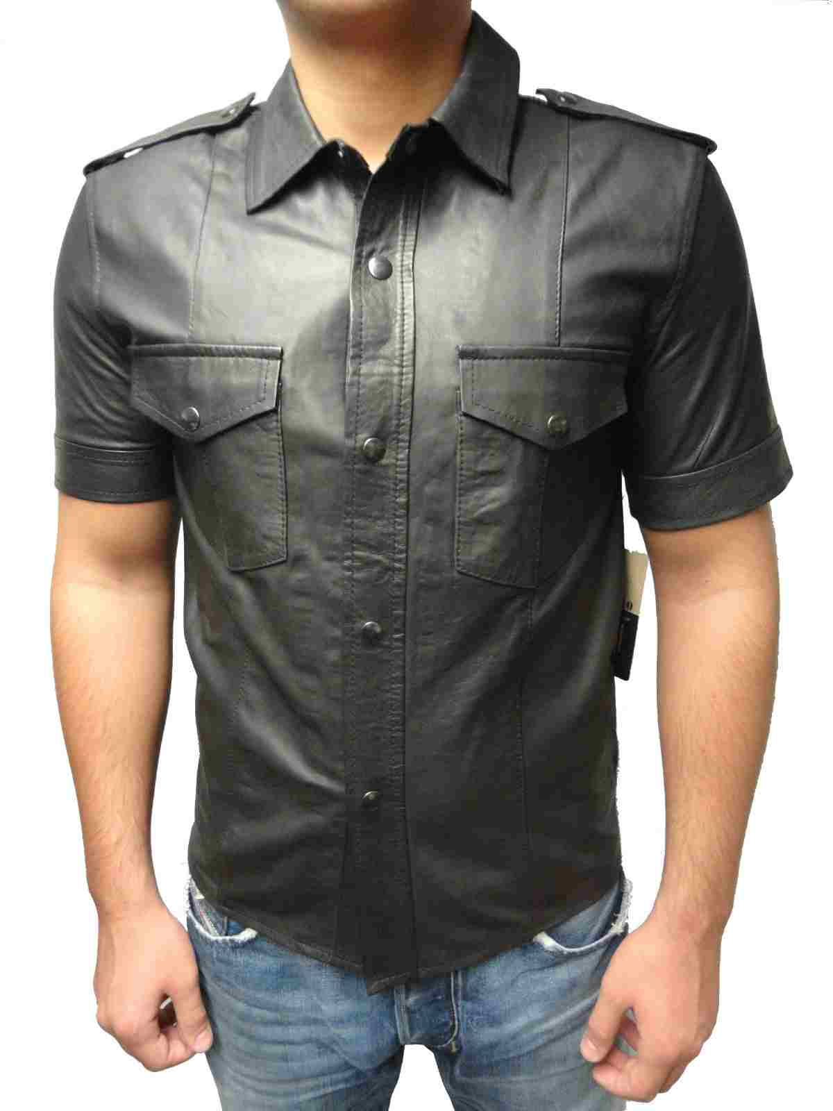 Mens short Leathershirt Ricano in casual & famous Style Lambskin Leather black