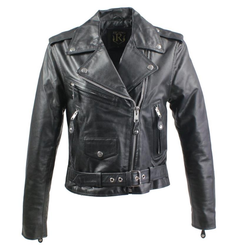 leather jacket brando girl cowhide leather black