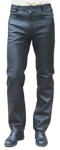 Leather pants cowhide aniline leather black