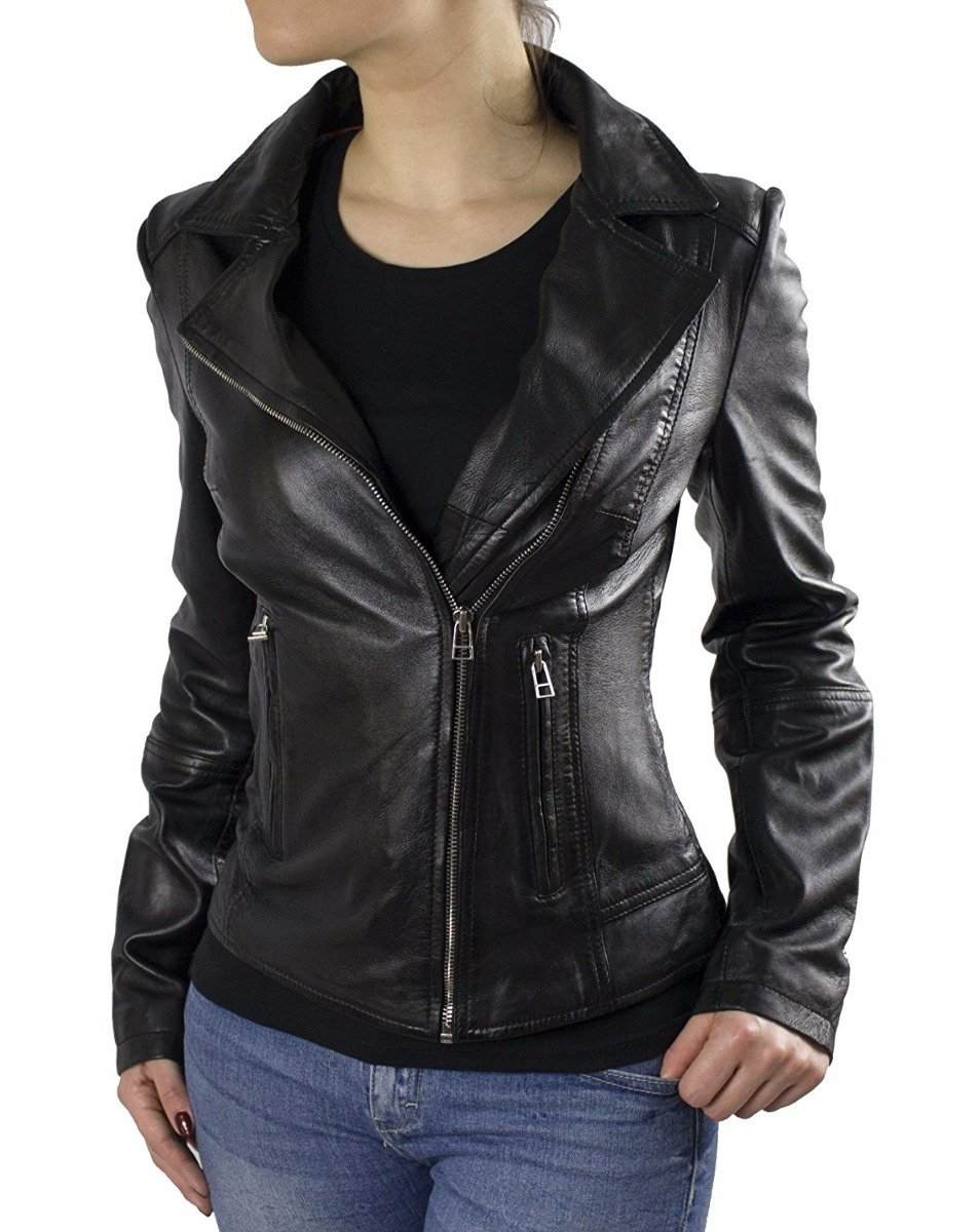Womens Leather Jacket Ricano Kaise Lambskin Leather black