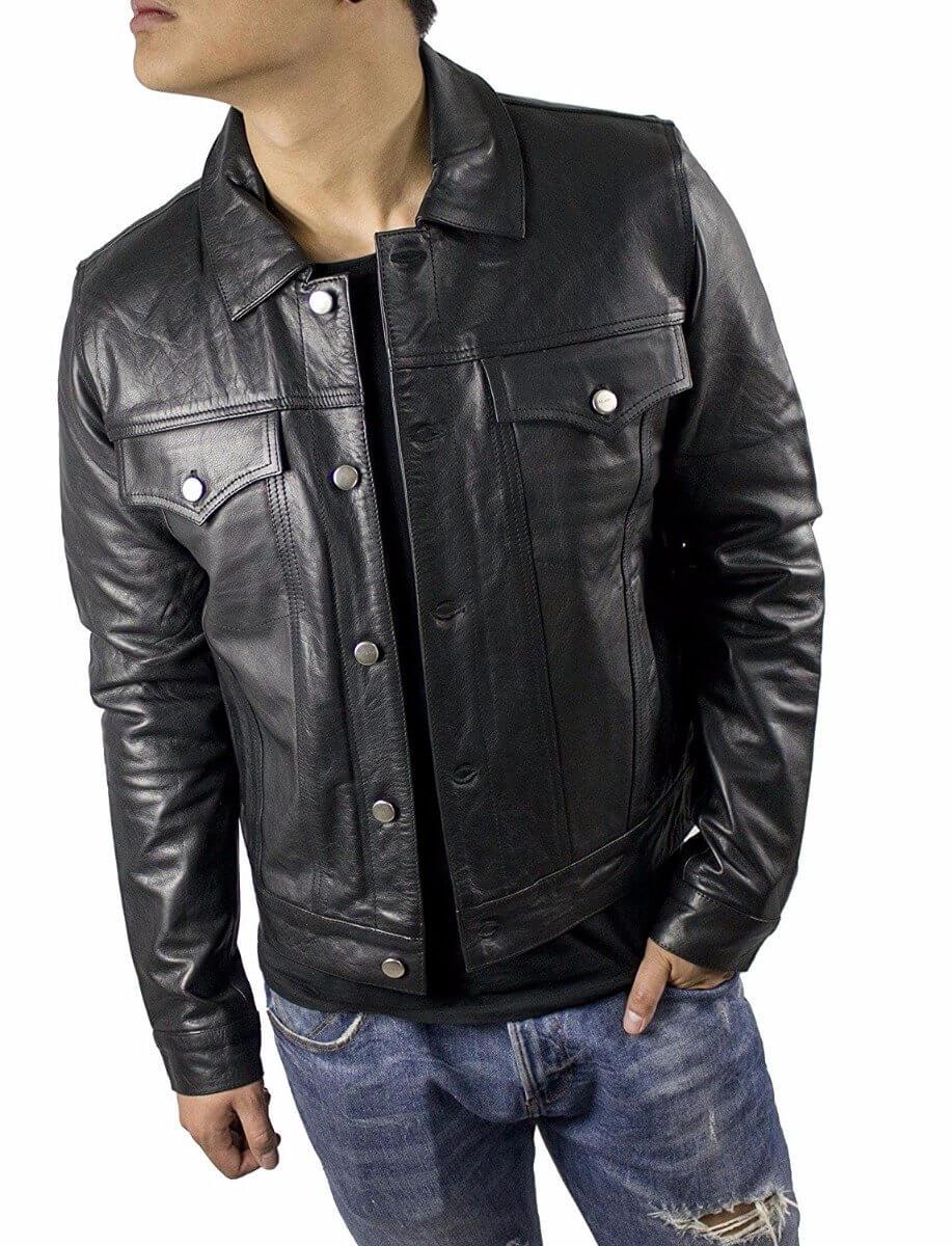 Lederjacke Cow Leder Jeans Schwarz Jacket Waxy Nappa dthosQrCxB