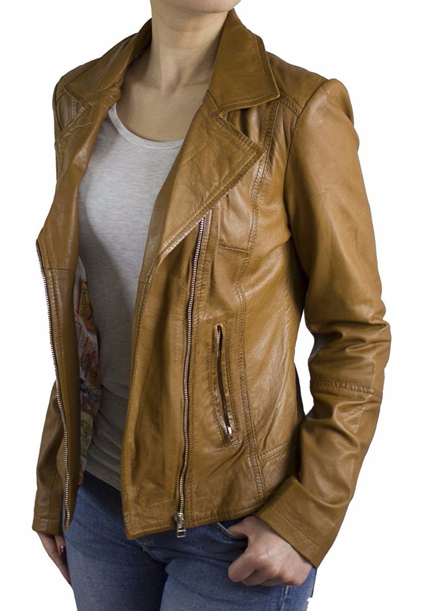 Womens Leather Jacket Ricano Kaise Lambskin Cognac