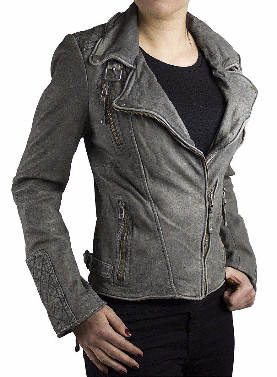 Rabatt-Verkauf zuverlässige Qualität wie man kauft Damen Lederjacke Ricano Vera Lammnappaleder Vintage grau
