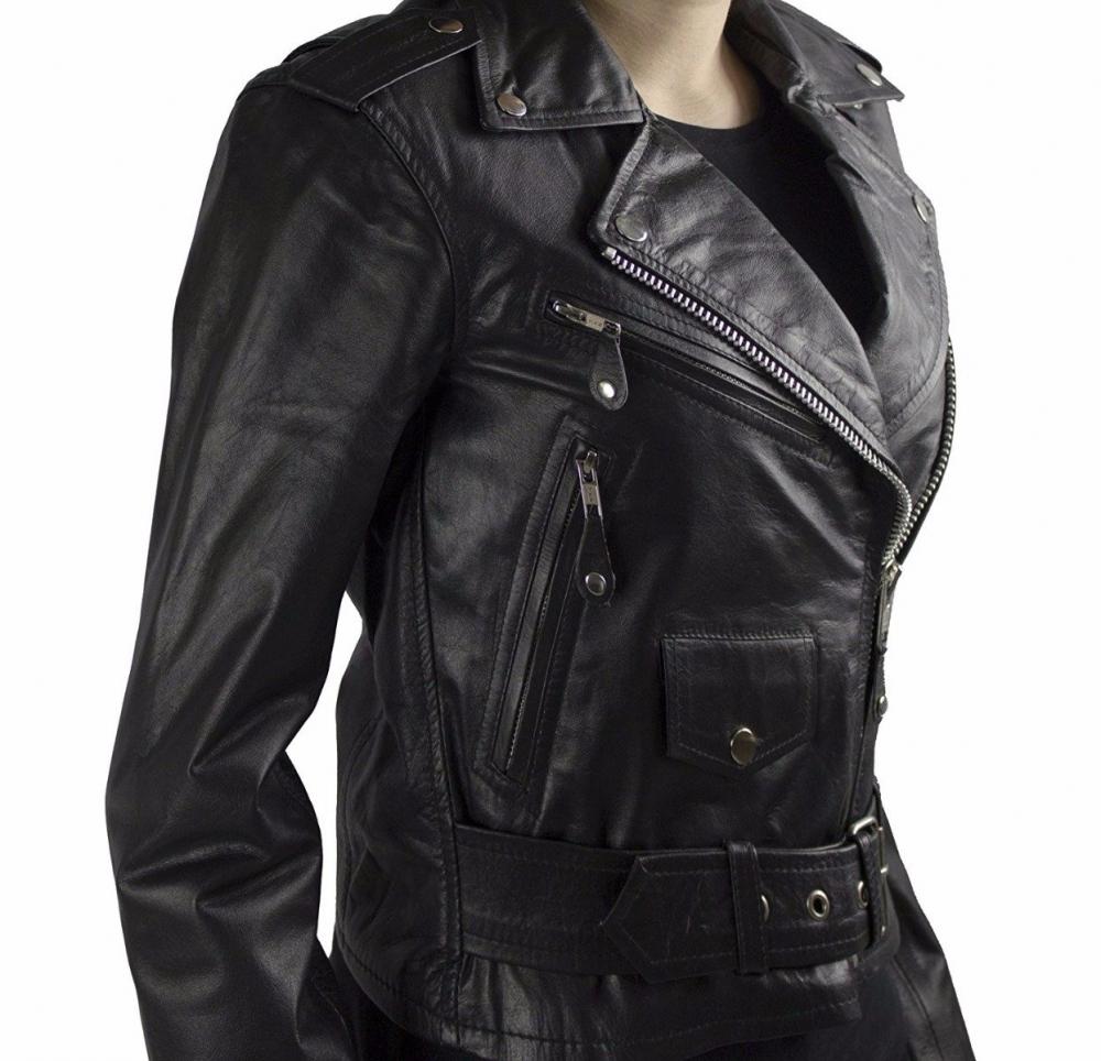 Leather Jacket Brando Girl Cowhide Nappa Leather black