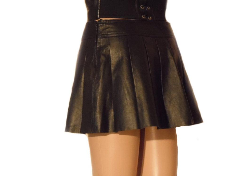 Damen Minirock Leder Faltenrock Lammnappaleder schwarz