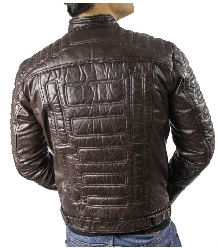 Mens LeatherjacketRicano 410 Biker Style Lambskinleatherbrown
