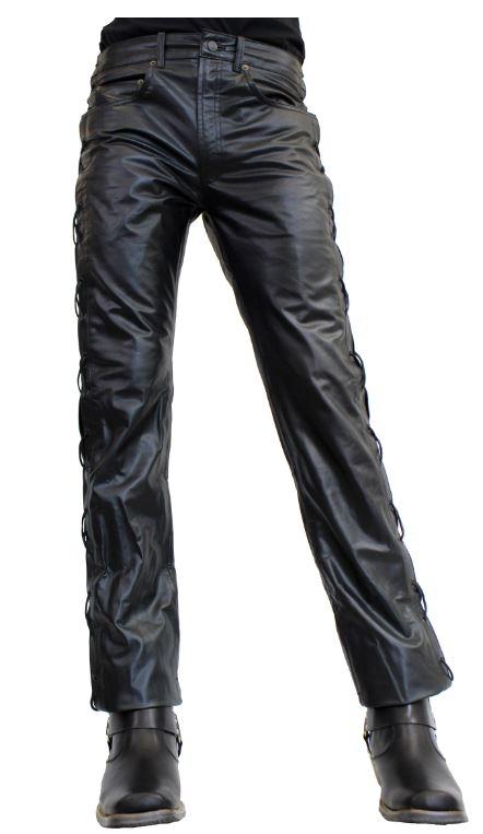 Schnürlederhose Ricano Biker schwarz
