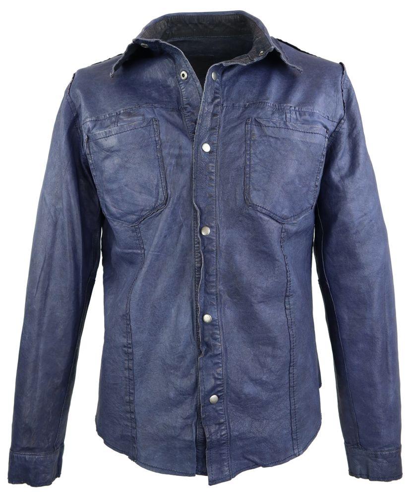 Lederhemd Ricano Reverse Shirt blau