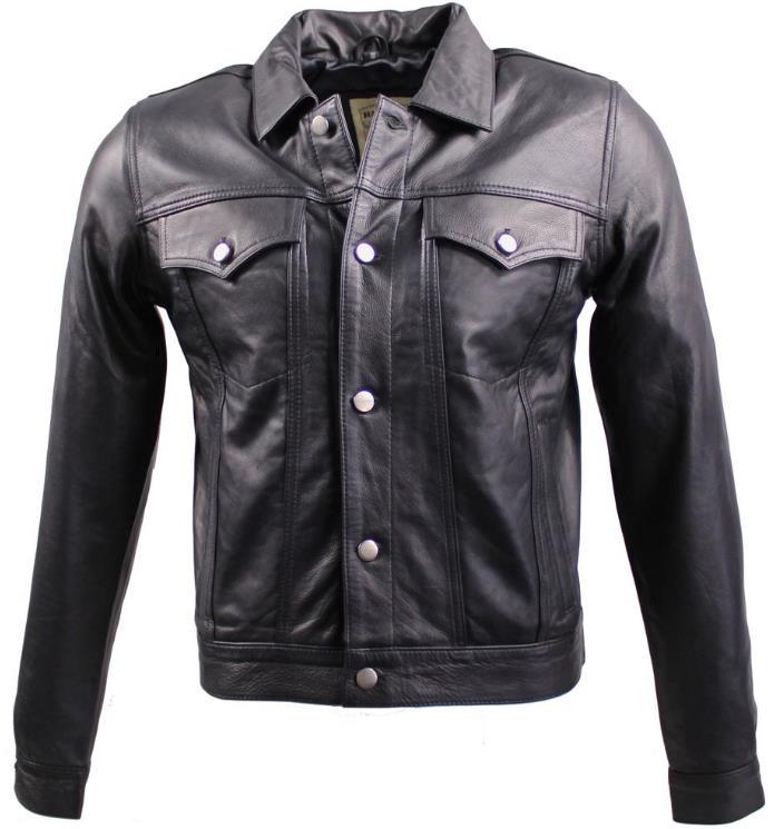 Lederjacke Jeans Jacket Cow Waxy schwarz